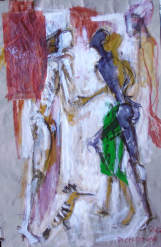 La Jupe Verte (2007) : technique mixte sur Papier   105 x 70 cm.