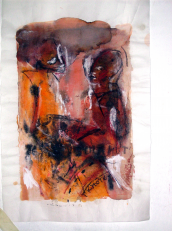 Entretient (2007) : technique mixte sur Papier   45 x 26 cm.