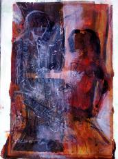 Entretien 2 (2007) : technique mixte sur Papier   32 x 24 cm.
