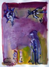 Femme Regardant Le Soleil  (2007) : technique mixte sur Papier   32 x 24 cm.