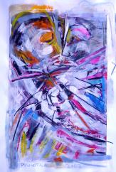 L'étreinte (2007) : technique mixte sur Papier   65 x 50 cm.