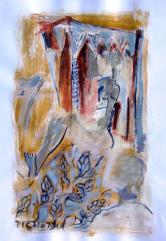 Le Voyage (2007) : Acrylique sur Papier   65 x 50 cm.