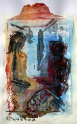 Entretien 4 (2007) : technique mixte sur Papier   50 x 33 cm.