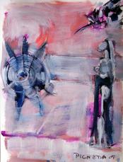 Femme avec Soleil  (2007) : Acrylique sur Papier   32 x 24 cm.