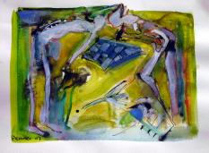 Rencontre (2007) : technique mixte sur Papier   24 x 32 cm.
