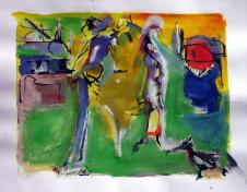 Rencontre (2007) : technique mixte sur Papier   25 x 33 cm.