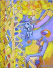 Femme Regardant Le Soleil  (2008) : Huile sur Toile   50 x 40 cm.