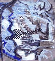 Empreinte (2008) : technique mixte sur Papier craft   69 x 64 cm.