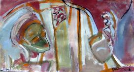 Question (2008) : technique mixte sur Papier   18 x 33 cm.