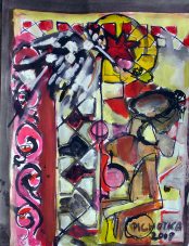 Prière au Soleil (2008) : technique mixte sur Papier   33 x 25 cm.