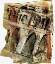 Cité 2 (2009) : technique mixte sur Papier   14 x 12 cm.
