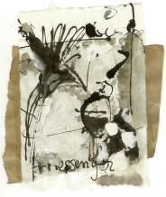 Messager (2009) : technique mixte sur Papier   14 x 12 cm.