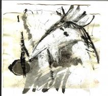 Messager 2 (2009) : technique mixte sur Papier   12 x 13 cm.