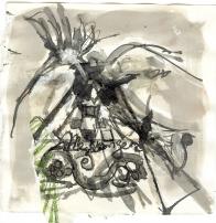 Messager 3 (2009) : technique mixte sur Papier   12 x 12 cm.
