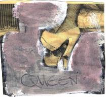 Queen 3 (2009) : Acrylique sur Papier journal   11 x 12 cm.
