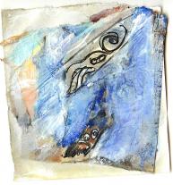 queen 4 (2009) : technique mixte sur Papier   12 x 11 cm.