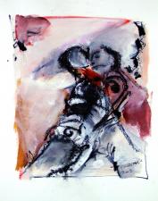 Etreinte Rose (2009) : technique mixte sur Papier   32 x 24 cm.