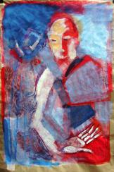 Qui es tu (2009) : Acrylique sur Papier craft   140 x 100 cm.