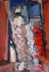Le Rideau Chez Asstou (2016) : Acrylique sur Papier   110 x 75 cm.