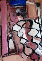 Le Rideau Chez Asstou 2 (2016) : Acrylique sur Papier   110 x 75 cm.