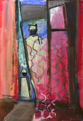 Le Rideau Chez Asstou 3 (2016) : Acrylique sur Papier   110 x 75 cm.