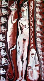 Le Septième Jour (2011) : Acrylique sur Papier   135 x 75 cm.