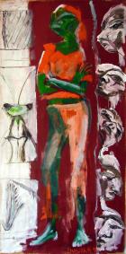 La Religieuse (2011) : technique mixte sur Papier craft   139 x 69 cm.