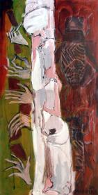 Geisha (2011) : technique mixte sur Papier   139 x 69 cm.