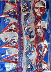 Oeil d'Oiseau (2011) : Acrylique sur Papier   138 x 100 cm.