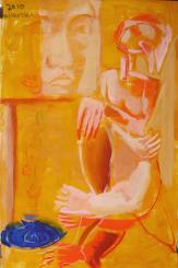 Chatbleu (2010) : technique mixte sur Papier   150 x 96 cm.