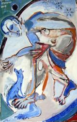 Chienbleu (2010) : Acrylique sur Papier   150 x 97 cm.