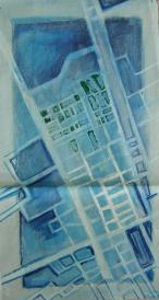 Blaue Vorstadt (2000) : Acrylique sur Papier   97 x 53 cm.