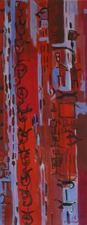 Sans Titre (2016) : Acrylique sur Papier   136 x 53 cm.