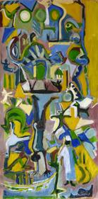 Ndar (2016) : Acrylique sur Papier   138 x 69 cm.