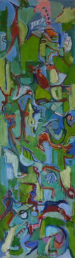 Sans Titre (2016) : Acrylique sur Papier   183 x 53 cm.