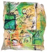 Am I god (2005) : technique mixte sur Papier   36 x 34 cm.