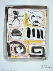 Feuille de calcule (2010) : technique mixte sur Papier   32 x 24 cm.