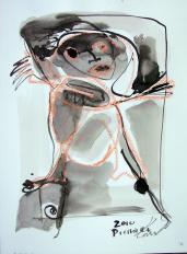 Ressort (2010) : technique mixte sur Papier   32 x 24 cm.