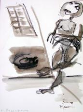 Pas de cigarette (2010) : technique mixte sur Papier   32 x 24 cm.
