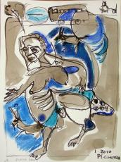 Mama Blues (2010) : technique mixte sur Papier   32 x 24 cm.