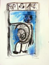 Premier du mois (2010) : technique mixte sur Papier   32 x 24 cm.